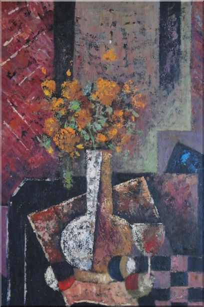 Modern Still Life of Vase Flower and Objects Oil Painting Bouquet Impressionism 36 x 24 Inches