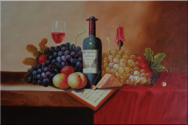 Still Life of Wine Bottle, Glass of Red Wine, Grapes, and Peaches Oil Painting Fruit Classic 24 x 36 Inches