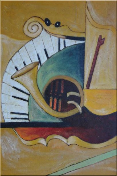 Musical Keyboard And French Horn Oil Painting Still Life Modern 36 x 24 Inches