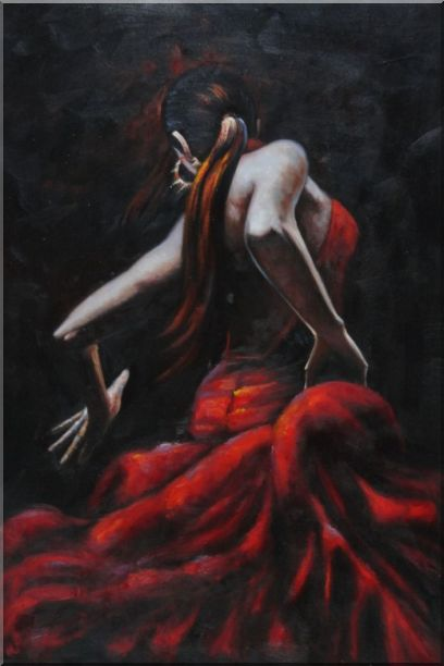 Melody of Flamenco II Oil Painting Portraits Woman Dancer Impressionism 36 x 24 Inches