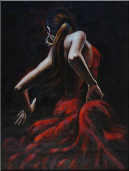 Melody of Flamenco II Oil Painting Portraits Woman Dancer Impressionism 48 x 36 Inches