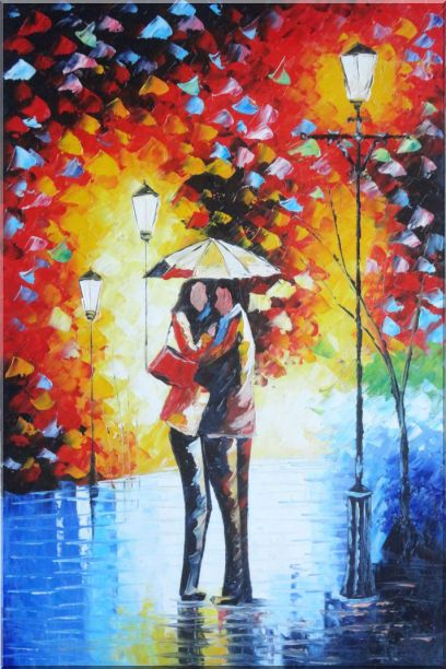 Lovers On Rainy Day Street at Night - 2 Canvas Set 2-canvas-set,portraits,couple modern  36 x 48 inches