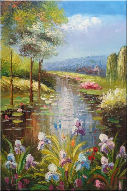 Flowers and Pond with Water Waterlily Oil Painting Impressionism 36 x 24 Inches