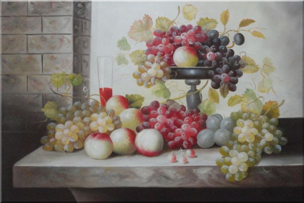 Still Life of Glass of Red Wine with Grapes and Peaches Oil Painting Fruit Classic 24 x 36 Inches