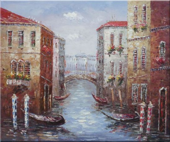 Parking Boats and Small Bridge of Canal of Venice Oil Painting Italy Impressionism 20 x 24 Inches