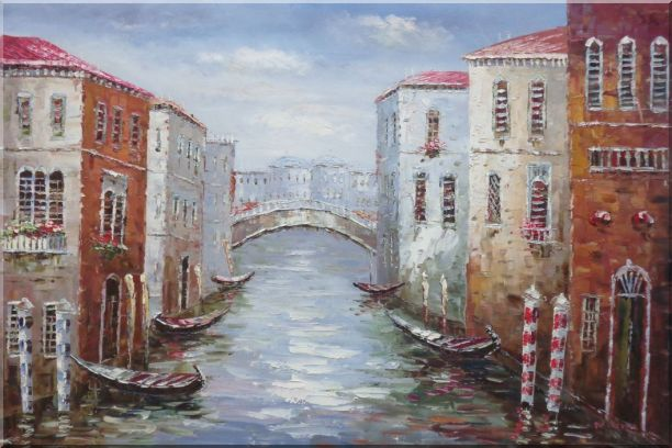 Parking Boats and Small Bridge of Canal of Venice Oil Painting Italy Impressionism 24 x 36 Inches