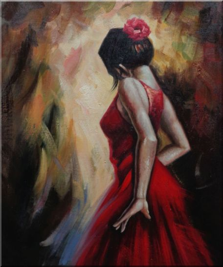 Elegant Spanish Flamenco Dancer with Long Red Skirt Oil Painting Portraits Woman Impressionism 24 x 20 Inches