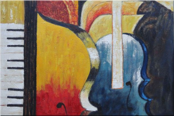 Piano, Cello, and Music Symbol Oil Painting Still Life Modern 24 x 36 Inches