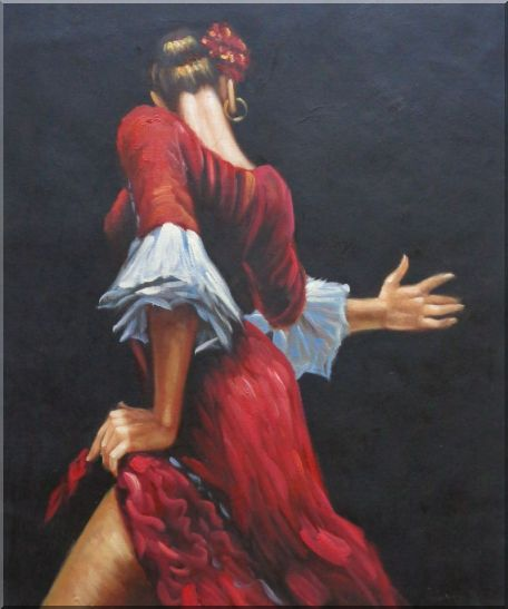 Passion of Flamenco Oil Painting Portraits Woman Dancer Impressionism 24 x 20 Inches