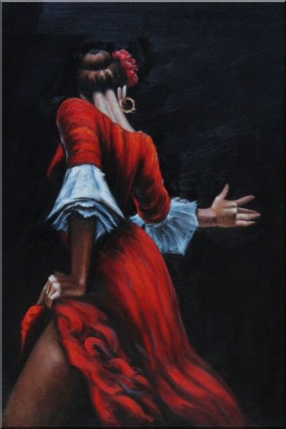 Passion of Flamenco Oil Painting Portraits Woman Dancer Impressionism 36 x 24 Inches