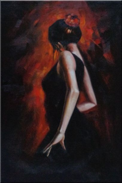 Female Flamenco Dancer Oil Painting Portraits Woman Impressionism 36 x 24 Inches
