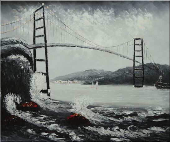 Black and White San Francisco Golden Gate Bridge Oil Painting Seascape America Naturalism 20 x 24 Inches