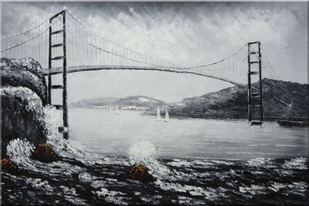 Black and White San Francisco Golden Gate Bridge Oil Painting Seascape America Naturalism 24 x 36 Inches