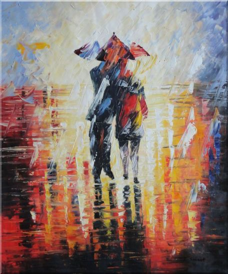 Couple Walking Under Umbrella in Rain Oil Painting Portraits Impressionism 24 x 20 Inches