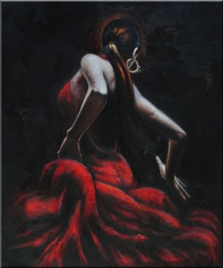 Elegant Flamenco Dancers - 2 Canvas Set 2-canvas-set,portraits,woman, dancer impressionism  24 x 40 inches