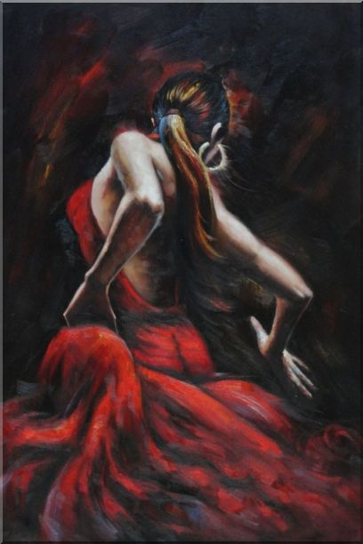 Elegant Flamenco Dancers - 2 Canvas Set 2-canvas-set,portraits,woman, dancer impressionism  36 x 48 inches