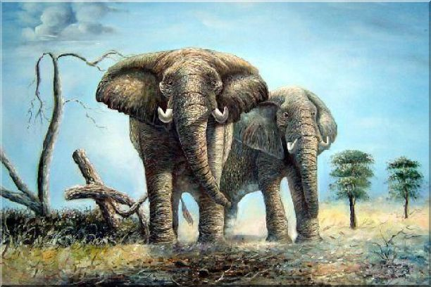 Pair of Walking Elephants Oil Painting Animal Naturalism 24 x 36 Inches