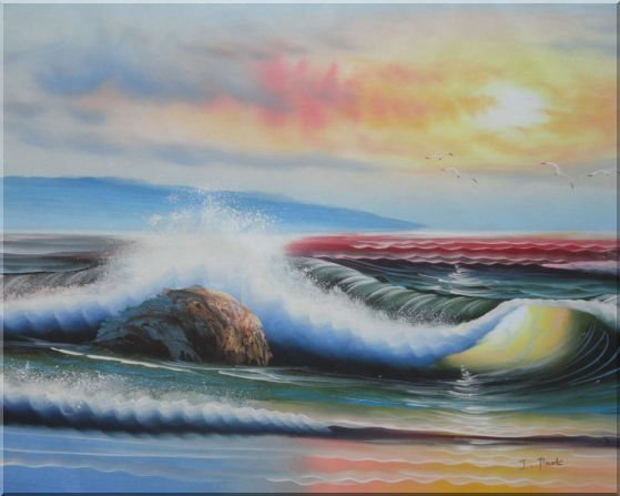 Sea Waves, Rocks, Sea Birds, Mountain At Sunset Oil Painting Seascape Naturalism 24 x 30 Inches