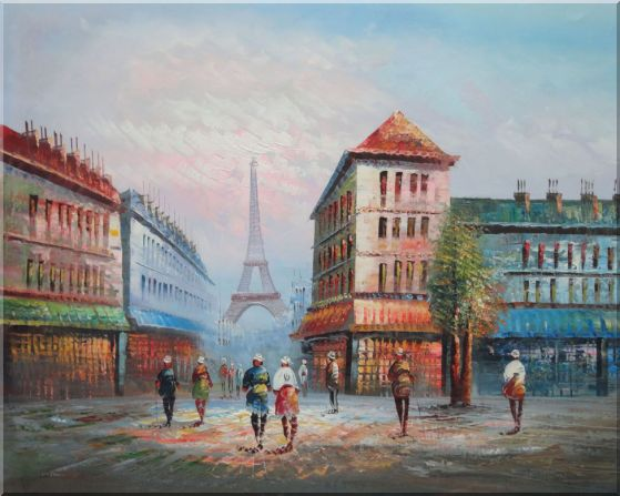 A Paris Street to Eiffel Tower Oil Painting Cityscape France Impressionism 24 x 30 Inches