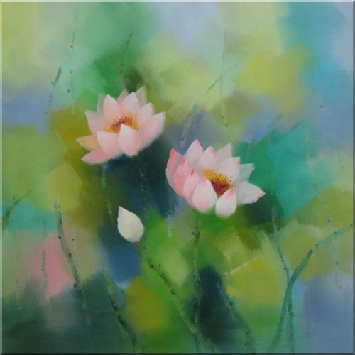 Pink Lotus Flowers in Spring Oil Painting Asian 24 x 24 Inches