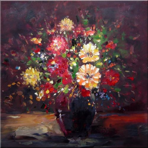 Graceful Knife Painted Colorful Flowers in Brown Oil Painting Still Life Bouquet Classic 24 x 24 Inches