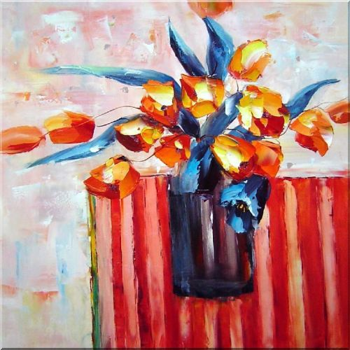 Delightful Knife Painted Orange Flowers Oil Painting Still Life Tulip Impressionism 24 x 24 Inches