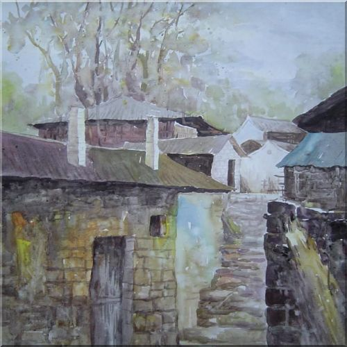 Village and Stone Path Oil Painting Asian 24 x 24 Inches