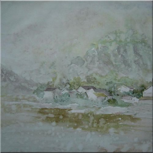 Village Impression In Memory Oil Painting Asian 24 x 24 Inches