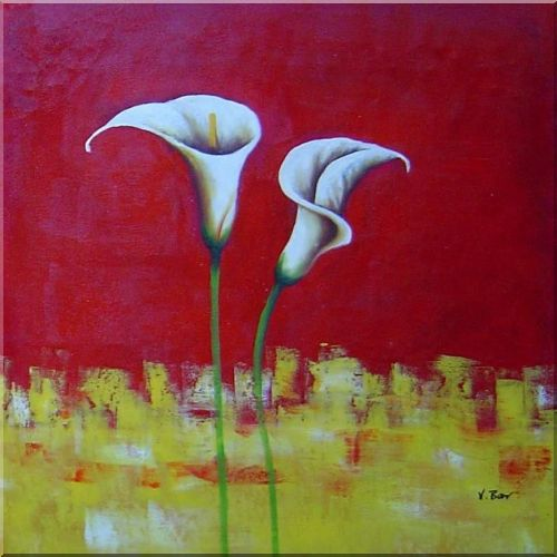White Calla Lilies In Red and Yellow Setting - 2 Canvas Set 2-canvas-set,flower, lily decorative  24 x 48 inches