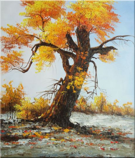 A Giant Old Golden Tree Oil Painting Landscape Naturalism 28 x 24 Inches