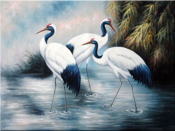 Three Red-crowned Cranes Play in Water At a Lakeside Oil Painting Animal Bird Asian 36 x 48 Inches