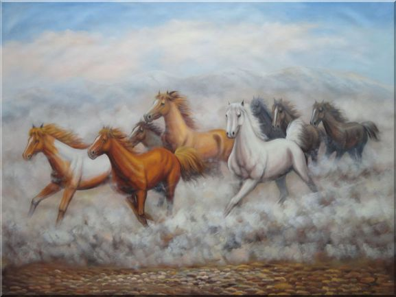 Eight Running Horses On Wild Oil Painting Animal Naturalism 36 x 48 Inches