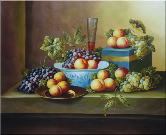 Still Life with Fruit of Grapes, Peaches, Plate and Wine Glass Oil Painting Classic 36 x 44 Inches
