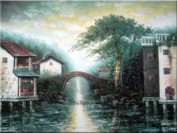Stone Bridge of Water Village Oil Painting China Asian 36 x 48 Inches