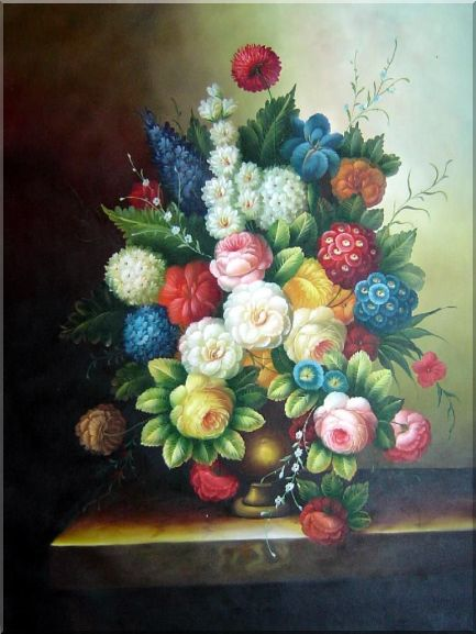Huge Classic Still Life of Flowers Oil Painting Bouquet 48 x 36 Inches
