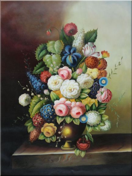 Colorful Flowers In Vase On Stone Sill Oil Painting Still Life Bouquet Classic 48 x 36 Inches