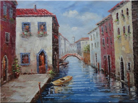 Venice Bridge, Boat and Canal Oil Painting Italy Impressionism 36 x 48 Inches