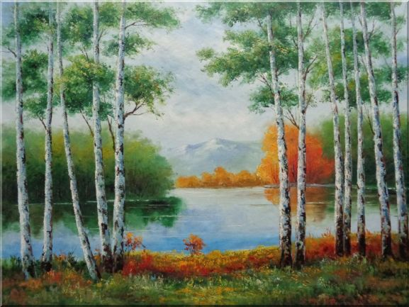 Green Birch Trees Along River With Golden Trees Oil Painting Landscape Naturalism 36 x 48 Inches