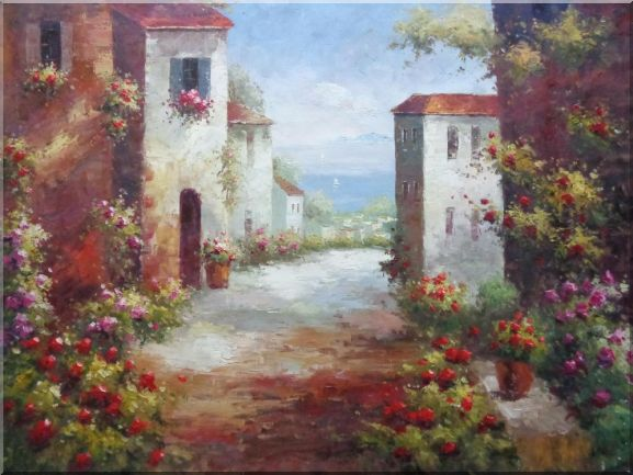 Mediterranean Colorful Flower Path Oil Painting Impressionism 36 x 48 Inches