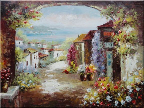 Mediterranean Dream Archway Oil Painting Impressionism 36 x 48 Inches
