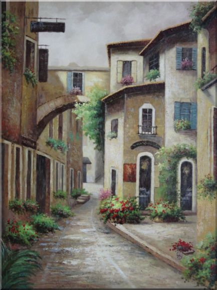 European Spain Flower Alley Oil Painting Cityscape Naturalism 48 x 36 Inches