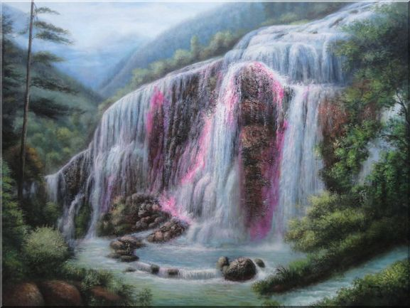 Beautiful Waterfall Pouring Down Oil Painting Landscape Naturalism 36 x 48 Inches