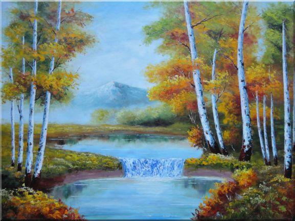 Golden Aspen Trees and Small Waterfall Oil Painting Landscape Autumn Naturalism 36 x 48 Inches