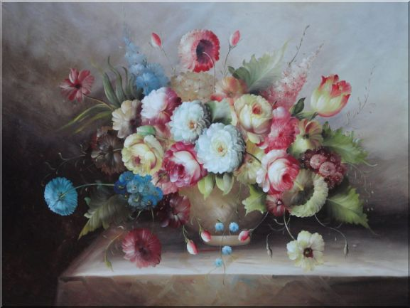 Still Life of Flowers in a Earthware Vase Oil Painting Bouquet Classic 36 x 48 Inches