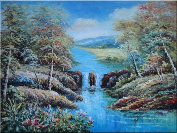 Small Waterfall in Blue Water Stream, Flowers, Trees Oil Painting Landscape Naturalism 36 x 48 Inches