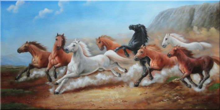 Eight Joyful Galloping Horses in the Wild Oil Painting Animal Naturalism 24 x 48 Inches
