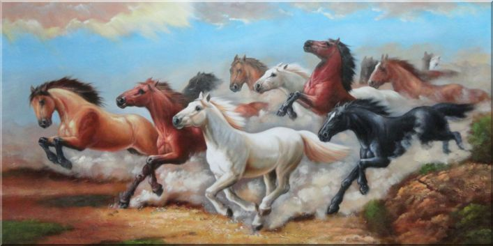Herd of Untamable Horses Running Freely in Wild Oil Painting Animal Naturalism 24 x 48 Inches