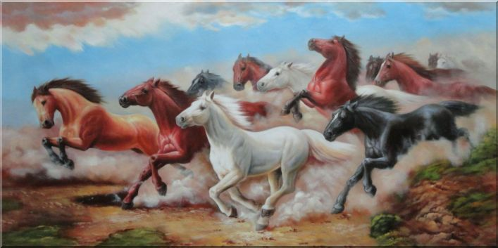 Herd of Untamable Horses Running Freely in Wild Oil Painting Animal Naturalism 30 x 60 Inches