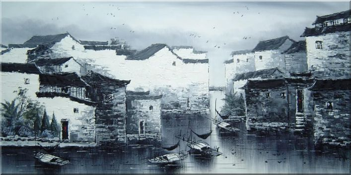 Tranquil Old Chinese Water Town in Black and White Oil Painting Village China Asian 24 x 48 Inches