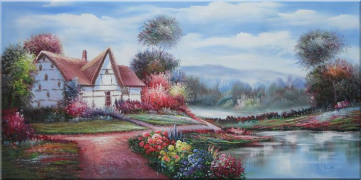 Rural Cottage, Flowers, Stream And Small Path Oil Painting Village Naturalism 24 x 48 Inches
